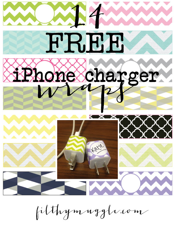 FREE iphone charger wraps printable