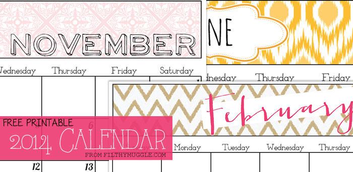 Free 2014 printable calendar from FilthyMuggle.com